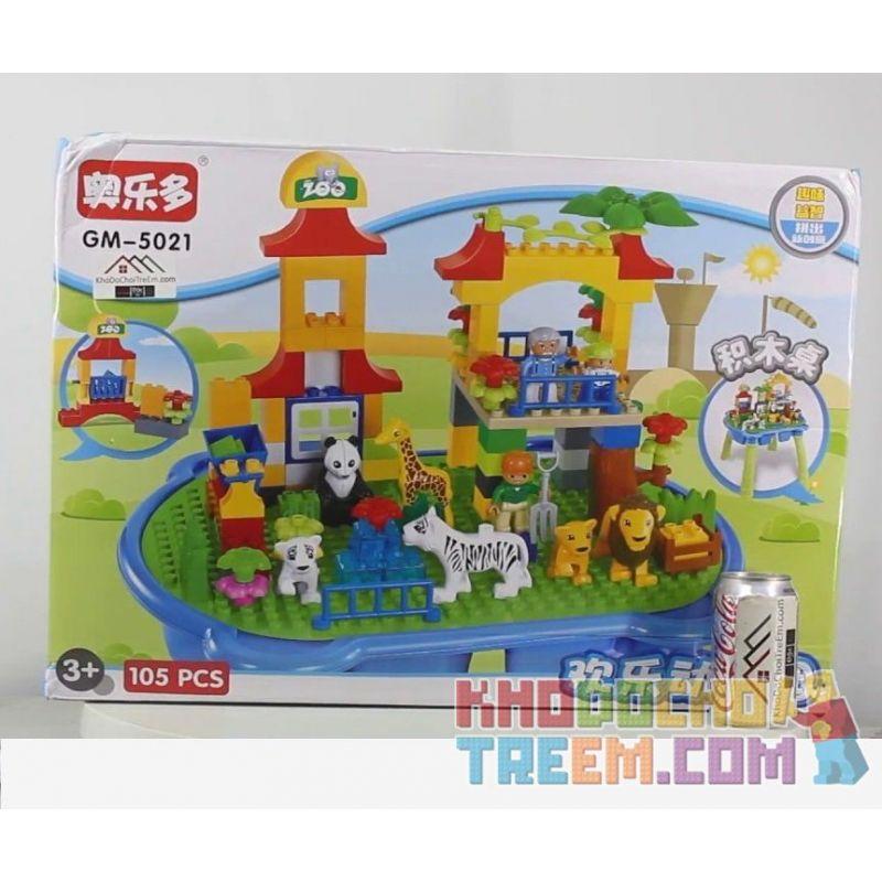 HYSTOYS HONGYUANSHENG AOLEDUOTOYS  GM-5021 5021 GM5021 Xếp hình kiểu Lego Duplo DUPLO Diverse Zoo Sở Thú Muôn Loài 105 khối