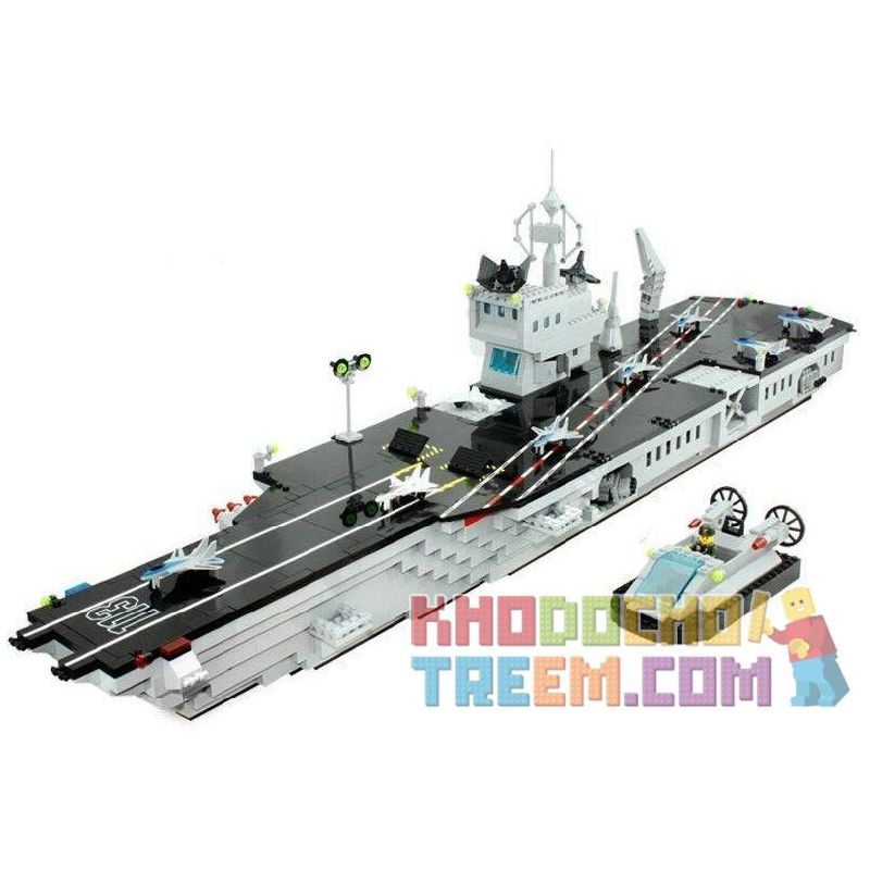 Enlighten 113 (NOT Lego Military Army Aircraft Carrier ) Xếp hình Tàu Sân Bay 990 khối