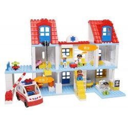 NOT Lego Duplo DUPLO 5795 Big City Hospital, HYSTOYS HONGYUANSHENG AOLEDUOTOYS  HG-1461 1461 HG1461 Xếp hình Bệnh Viện Trung ương Và Xe Cấp Cứu 127 khối