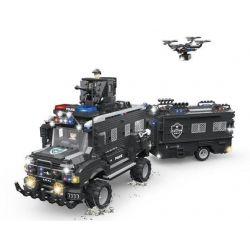 Woma C0556 (NOT Lego SWAT Special Force Swat Armored Car ) Xếp hình Xe Bọc Thép Kéo Khoang Của Đặc Nhiệm 1663 khối