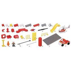 NOT Lego Duplo DUPLO 6138 My First Fire Station, HYSTOYS HONGYUANSHENG AOLEDUOTOYS  HG-1300 1300 HG1300 Xếp hình trụ sở cứu hỏa với trực thăng và ô tô cứu hỏa 60 khối