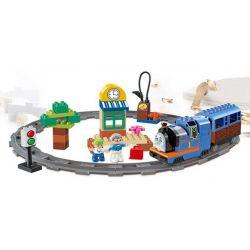 NOT Lego Duplo DUPLO 5544 Thomas Starter Set, HUIMEI STAR CITY XING DOU CHENG HM327 Xếp hình Tàu Hỏa động Cơ Pin Thomas Và Ray Hình Tròn 82 khối có động cơ pin