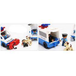 NOT Lego Duplo DUPLO 5681 Police Station, HYSTOYS HONGYUANSHENG AOLEDUOTOYS  GM-5011C 5011C GM5011C HG-1266 1266 HG1266 Xếp hình Trụ Sở Cảnh Sát Với Trực Thăng Cùng ô Tô Cảnh Sát 60 khối