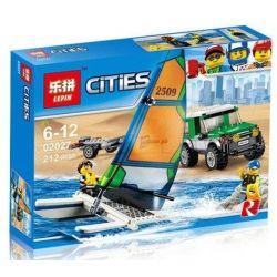 Lepin 02027 Bela 10647 (NOT Lego City 60149 4X4 With Catamaran ) Xếp hình Xe Con Kéo Thuyền Buồm 212 khối