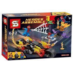 LEPIN 07041 SHENG YUAN SY SY841 Xếp hình kiểu Lego MARVEL SUPER HEROES Spider-Man Ghost Rider Team-Up Spider-Man Evil Knight Collection Người Nhện Hợp Sức Ma Tốc Độ 217 khối