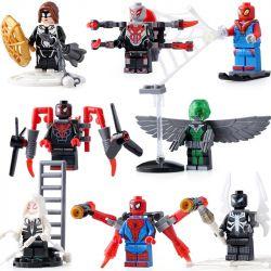 Sheng Yuan 688 SY688 (NOT Lego Super Heroes Various Altered Spider-Man Characters Minifigs ) Xếp hình Người Nhện 8 In 1 gồm 8 hộp nhỏ 200 khối