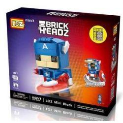 Loz 1401 Mini Blocks BrickHeadz 41589 Captain America Xếp hình Đội Trưởng Mỹ 142 khối