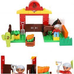 NOT LEGO Duplo 10806 Horses, Hystoys HongYuanSheng Aoleduotoys HG-1428 Xếp hình trang trại ngựa nhỏ 34 khối