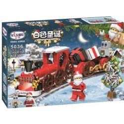 Winner 5036 Xếp hình kiểu Lego SEASONAL White Christmas Christmas Train Xe Lửa Hộp Quà Của Ông Già Noel 345 khối