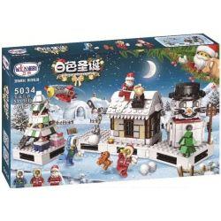 Winner 5034 Xếp hình kiểu Lego SEASONAL White Christmas Christmas Gift Box Santa Claus White Christmas Christmas Four-in-one Giáng Sinh Của Bé Và Những Người Bạn 511 khối