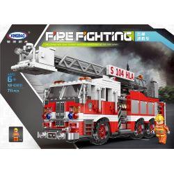 XINGBAO XB-03031 03031 XB03031 Xếp hình kiểu Lego FIRE RESCURE Fire-Fighting Truntable Ladder Fire Fighting Continental Fire Truck Xe Cứu Hỏa Thang Xoay 711 khối