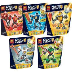 Bela 10585 10586 10587 10588 10589 Lari 10585 10586 10587 10588 10589 LEPIN 14024 14024A 14024B 14024C 14024D 14024E Xếp hình kiểu Lego NEXO KNIGHTS Battle Suit Aaron Battle Suit Axl Battle Suit Clay