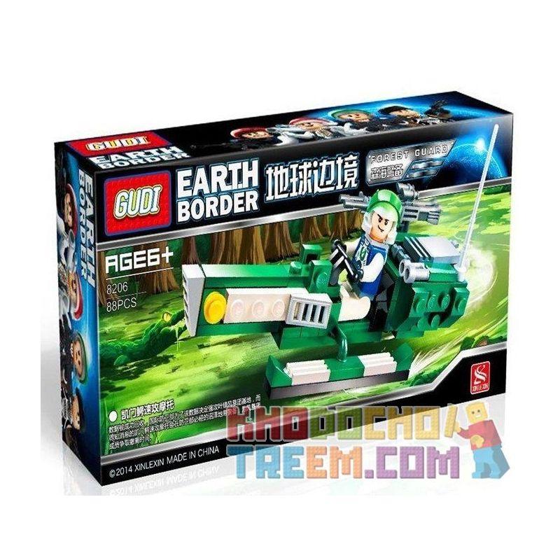 GUDI 8206 Xếp hình kiểu Lego Earth Border Kemen Crocodile Fast Attack Motorcycle Moto Bay 88 khối