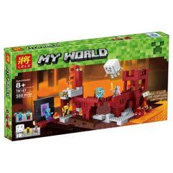 Bela 10393 Lari 10393 BLX 81122 LELE 79147 Xếp hình kiểu Lego MINECRAFT The Nether Fortress My World Ground Fortress Pháo đài Nether 571 khối