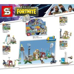 Sheng Yuan 1127 SY1127 (NOT Lego Fornite Fortnite ) Xếp hình Doanh Trại Trong Game Fortnite gồm 4 hộp nhỏ 454 khối