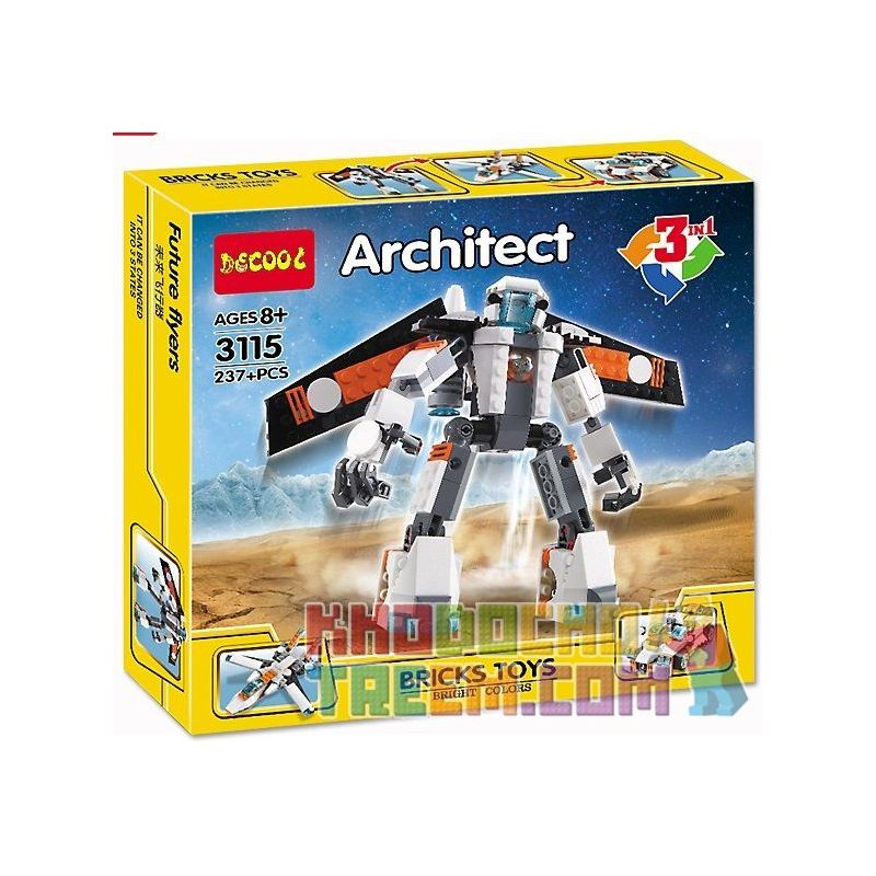 Decool 3115 (NOT Lego Creator 31034 Future Flyers ) Xếp hình Robot, Máy Bay Phản Lực, Ô Tô Đua 237 khối