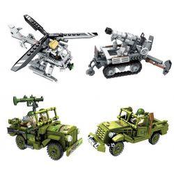 Panlosbrick 631004 (NOT Lego Justice Action Justice Action ) Xếp hình Đội Xe Chiến Đấu Quân Sự 4 Trrong 1 gồm 4 hộp nhỏ 1423 khối