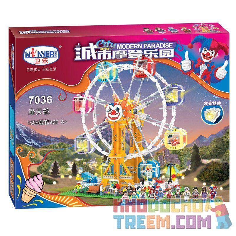 Winner 7036 Xếp hình kiểu Lego City Modern Paradise Ferris Wheel Đu Quay Bánh Xe Khổng Lồ 1506 khối