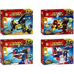 SHENG YUAN SY 7018 7018A 7018B 7018C 7018D SY7018 7018 Xếp hình kiểu Lego SUPER HEROES Heroes Assemble Superhero Pistol 4 Vũ Khí Của 4 Siêu Anh Hùng gồm 6 hộp nhỏ 933 khối