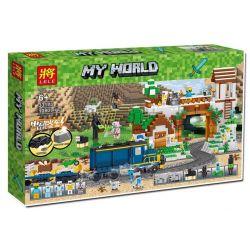 LELE 33173 Xếp hình kiểu Lego MINECRAFT MY WORLD Carpemen Ring Island Electric Train Tàu Điện Về Thị Trấn động Cơ Pin 1080 khối có động cơ pin