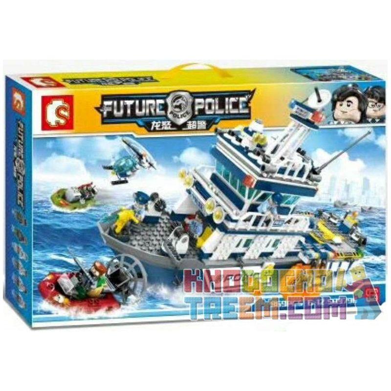 SEMBO 9796 SD9796 9796 Xếp hình kiểu Lego CITY Future Police Tàu Tuần Tra Của Cảnh Sát gồm 2 hộp nhỏ 869 khối