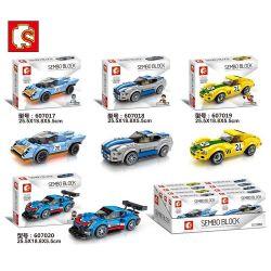 Sembo 607017 607018 Xếp hình kiểu LEGO Speed Champions Porsche 911 RSR and 911 Turbo 3.0 Bộ 4 Xe đua gồm 2 hộp nhỏ 732 khối