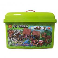 Lele 33068 (NOT Lego Minecraft My World ) Xếp hình Ngôi Làng Nhà Trên Cây Có Hộp Nhựa 1516 khối