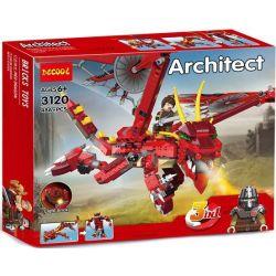 Decool 3120 Jisi 3120 Xếp hình kiểu Lego CREATOR Fiery Legend Hot Legend Huyền Thoại Rồng Thần Fiery 3 Trong 1 lắp được 3 mẫu 479 khối