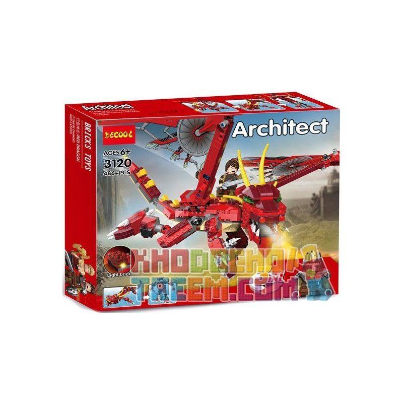 NOT Lego CREATOR 6751 Fiery Legend , Decool 3120 Jisi 3120 Xếp hình Huyền Thoại Rồng Thần Fiery 3 Trong 1 lắp được 3 mẫu 479 khối