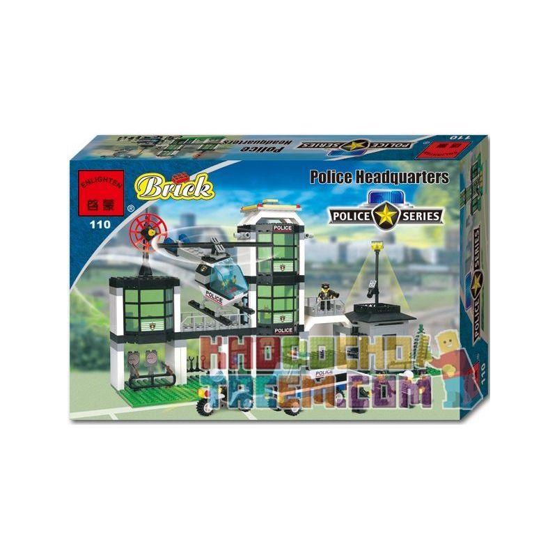 Enlighten 110 Qman 110 Xếp hình kiểu Lego TOWN Command Post Central Police Department Trung Tâm Chỉ Huy gồm 2 hộp nhỏ 466 khối