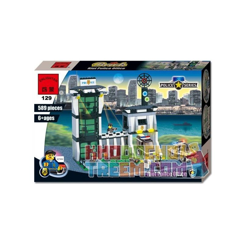 Enlighten 129 Qman 129 Xếp hình kiểu Lego WORLD CITY Police HQ Police Department Explosion-proof Polish Trung Tâm Cảnh Sát 422 khối