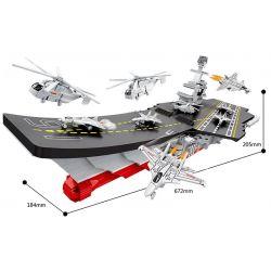 HSANHE 6450 Xếp hình kiểu Lego MILITARY ARMY Aircraft Carrier Tàu sân bay Liêu Ninh 1119 khối