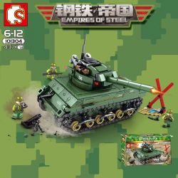 SEMBO 101304 Xếp hình kiểu Lego EMPIRES OF STEEL Steel Empire US Military Sherman M4 Tank Xe Tank Bọc Thép 437 khối