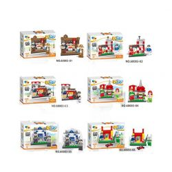 QIZHILE 60003 Xếp hình kiểu Lego MODULAR BUILDINGS Western Restaurant, Baby Barber And Toy Shop, Starlight Kindergarten, Police Station, Remote Control Car Store 6 Cửa Hàng Nhỏ 687 khối