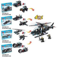 LE DI PIN 27005 27005-1 27005-2 27005-3 27005-4 Xếp hình kiểu Lego SWAT SPECIAL FORCE 8 In 4 In 1 SWAT Helicopter 8 trong 4 trong 1 Trực thăng SWAT gồm 4 hộp nhỏ 490 khối