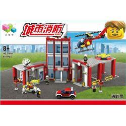 QIZHILE 21008 Xếp hình kiểu Lego FIRE RESCURE City Fire Fire Headquarters Trung Tâm Cứu Hỏa 1189 khối