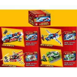 SHENG YUAN SY 7012 7012A 7012B 7012C 7012D Xếp hình kiểu Lego SUPER HEROES Heroes Assemble League Of Legends Team 4 Spider Speed Motor, Steel Multi-function Fighter, Pharar Speed Fighter, Green Giant
