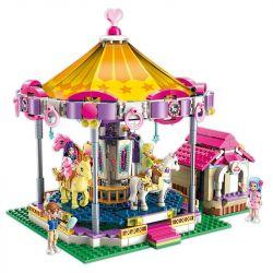 Enlighten 2016 Qman 2016 Xếp hình kiểu Lego CHERRY Colorful Holiday Dream Rotating Trojan Ngựa Gỗ Xoay Vòng 646 khối
