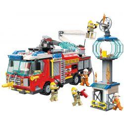 Enlighten 2809 Qman 2809 Xếp hình kiểu Lego FIRE RESCURE Fire Rescue Flame Pioneer Airport Rescue Chữa Cháy Ngọn Tháp 647 khối