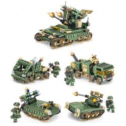 Kazi KY84056 (NOT Lego Field Army Anti-Missile System Tank Chariot ) Xếp hình 4 Thiết Bị Kết Hợp Thành Xe Tăng gồm 4 hộp nhỏ 643 khối