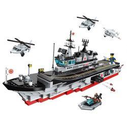 Enlighten 1723 Qman 1723 Xếp hình kiểu Lego TACTICAL ESPIONAGE ACTION Battlefield Series Chickens Guard Aircraft Carrier Tàu Sân Bay Rắn đỏ 642 khối