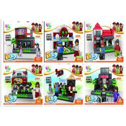 Qizhile 60004 (NOT Lego Mini Modular Shop, Hotel, Zoo_Happy Ktv, Library, Barber Shop, Model ) Xếp hình Karaoke, Thư Viện, Tiệm Cắt Tóc, Cửa Hàng, Khách Sạn lắp được 6 mẫu 893 khối