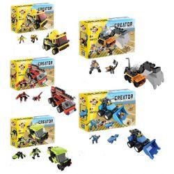 QIZHILE 3001 Xếp hình kiểu Lego CREATOR 3 IN 1 Construction Vehicle 5 In 1 Bộ xe xây dựng: máy ủi, máy xúc, xe tải, cần cẩu, xe trộn be· 634 khối