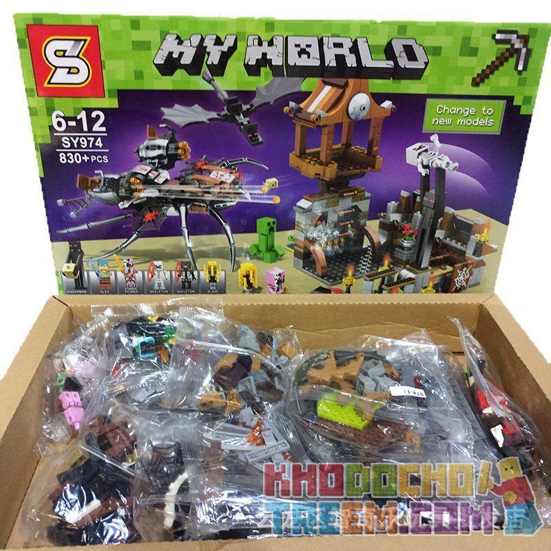 SHENG YUAN SY SY974 Xếp hình kiểu Lego MINECRAFT My World Gushie Invasion Cuộc Xâm Lược Tarantula 830 khối