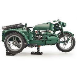 DOUBLEE CADA C51021 51021 Xếp hình kiểu Lego TECHNIC World War II Military Motorcycle Xe Gắn Máy Quân Sự Thế Chiến Thứ Hai 629 khối điều khiển từ xa