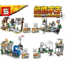 Sheng Yuan 1094 (NOT Lego PUBG Battlegrounds Abandoned Rails, Buildings, Wind Stations, Water Plants ) Xếp hình Đường Ray Bỏ Hoang, Tòa Nhà, Trạm Gió, Nhà Máy Nước gồm 4 hộp nhỏ 584 khối