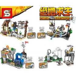 SHENG YUAN SY 1094 1094A 1094B 1094C 1094D Xếp hình kiểu Lego PUBG BATTLEGROUNDS Jedi Survival Waste Track, Ruins, Wind Bus, Water Plant đường Ray Bỏ Hoang, Tòa Nhà, Trạm Gió, Nhà Máy Nước gồm 4 hộp n