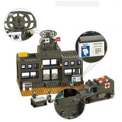 SLUBAN M38-B7100 B7100 7100 M38B7100 38-B7100 Xếp hình kiểu Lego LAND FORCES 2 Army Troops Army Headquarters Doanh Trại Quân Đội 1086 khối