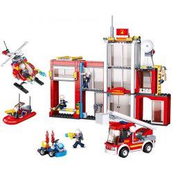 Sluban M38-B0631 (NOT Lego Fire rescure Fire Station ) Xếp hình Trụ Sở Cứu Hỏa 612 khối
