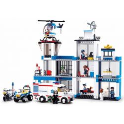 Sluban M38-B0660 (NOT Lego Police Police:police Headquarters ) Xếp hình Xếp Hình Trụ Sở Cảnh Sát 606 khối